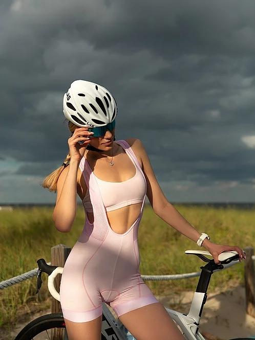 women's cycling bib shorts pink